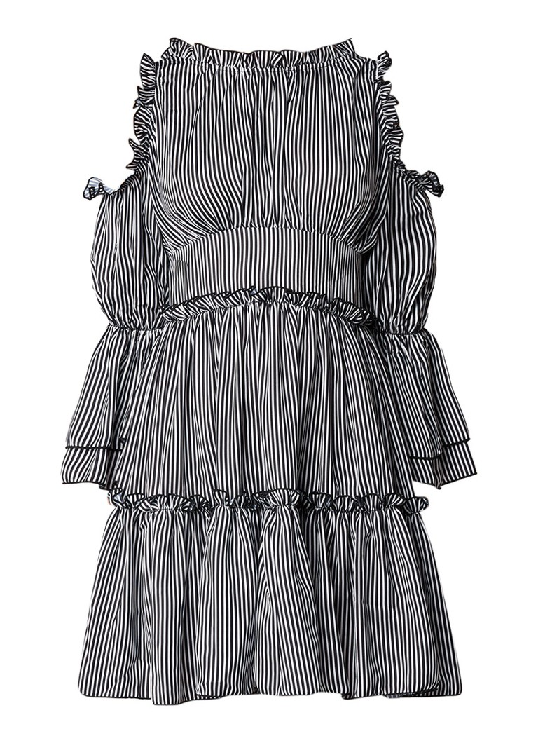 Maje Radise A-lijn jurk met cold shoulder en streepdessin zwart