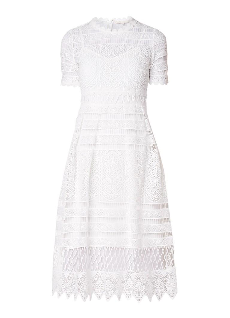 Maje Roseray A-lijn jurk van guipure kant lichtblauw