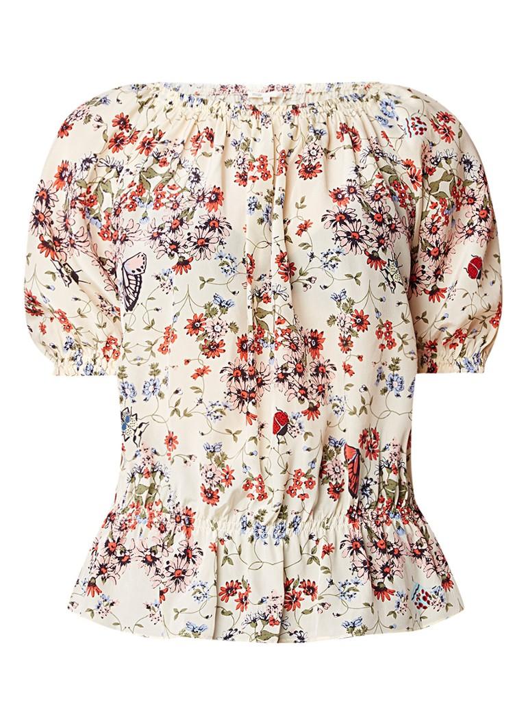 Maje Lucky off shoulder top van zijde met bloemendessin