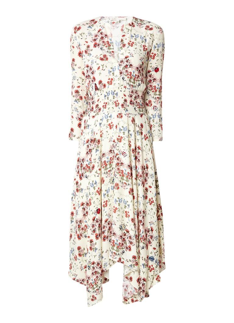 Maje Rayine A-lijn jurk met bloemendessin lichtgeel