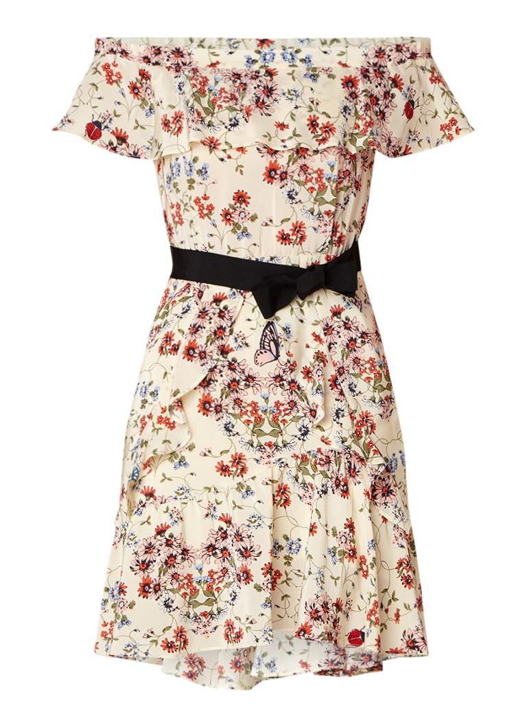 Maje Rinora off shoulder jurk van zijde met volants vanillegeel