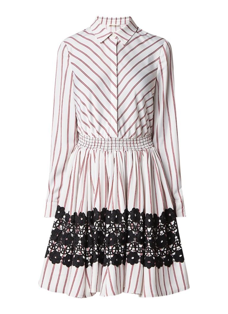Maje Ronnie A-lijn jurk van satijn met streepdessin en kantdetail creme