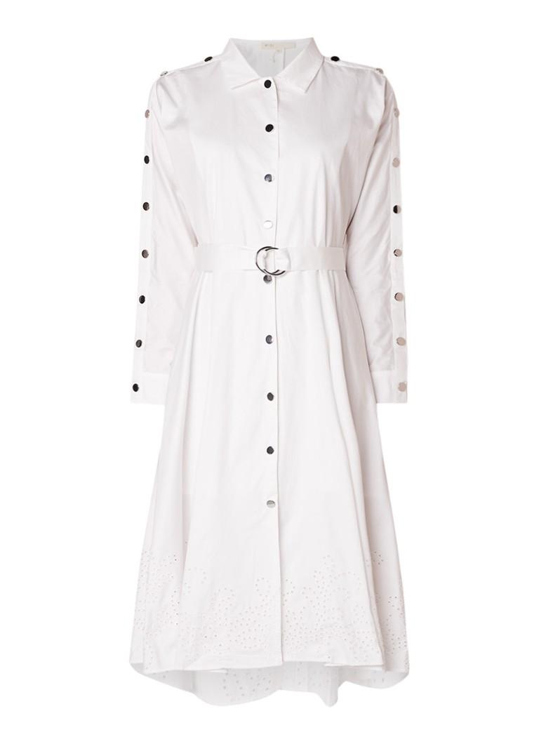 Maje Renaline blousejurk met drukknopen en ceintuur wit