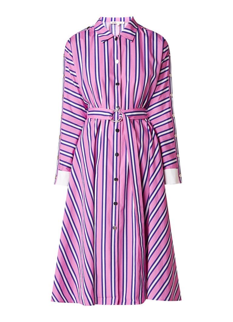 Maje Renali A-lijn blousejurk met streepdessin en drukknopen roze