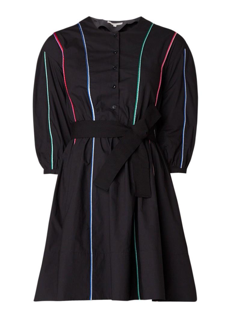 Maje Roy A-lijn jurk met gekleurde biezen zwart