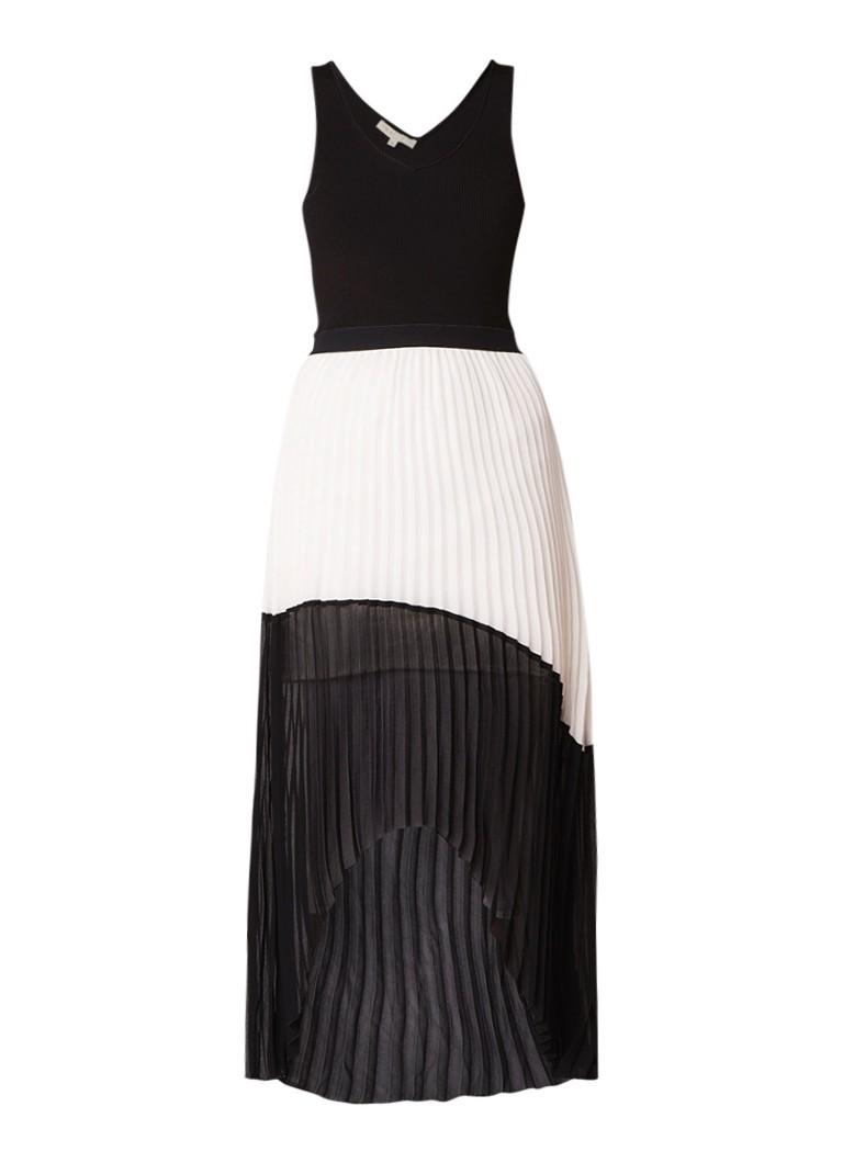 Maje Ruddy asymmetrische maxi-jurk met plissé zwart