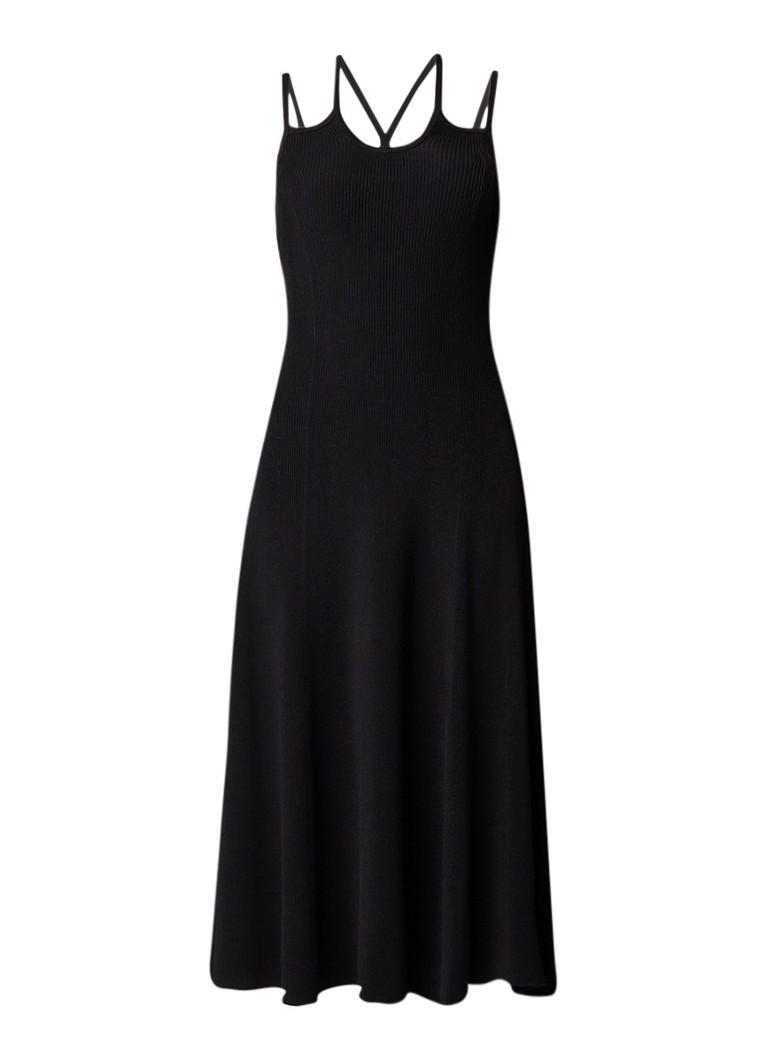 Maje Bryan ribgebreide A-lijn jurk met gekruiste banden zwart