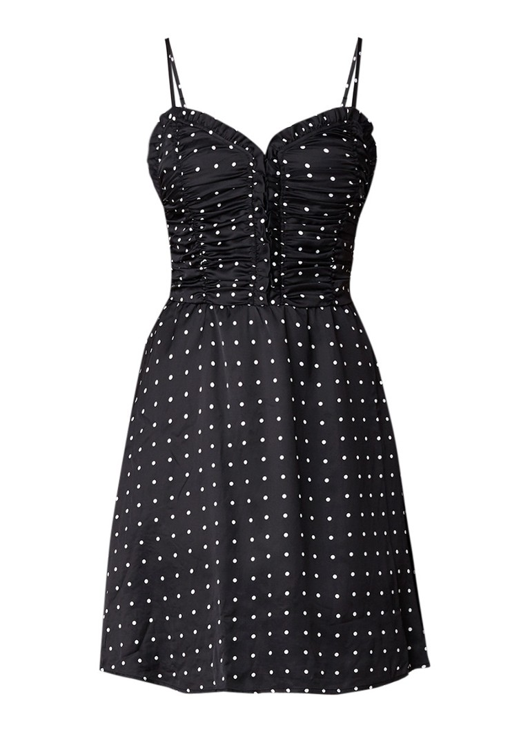 Maje Renota mini-jurk met stippendessin en gesmockte top zwart