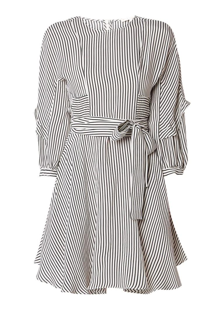 Maje Roxby A-lijn jurk met ruches en streepdessin gebroken wit
