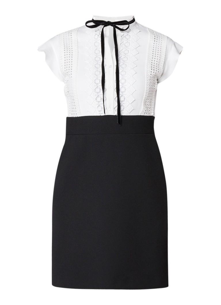 Maje Runo jurk met strikdetail en kant gebroken wit