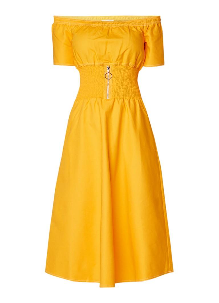 Maje Relera off shoulder jurk met ritsdetail en smockwerk maisgeel