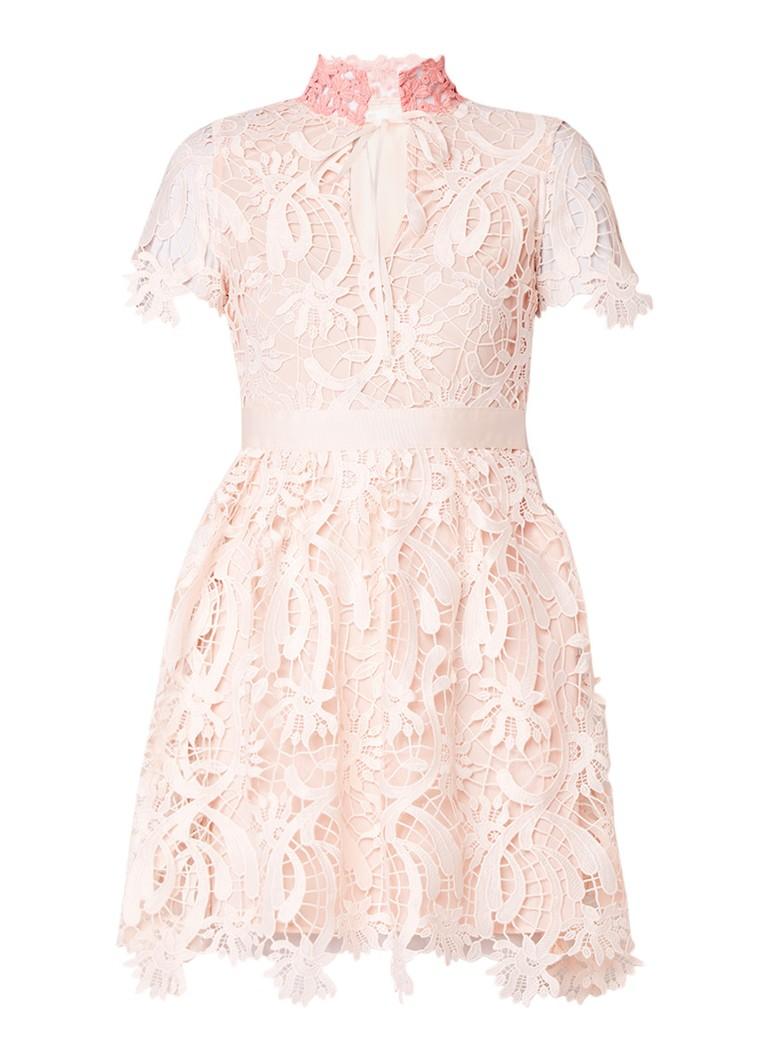 Maje Regina A-lijn jurk met gebloemd kant zalmroze