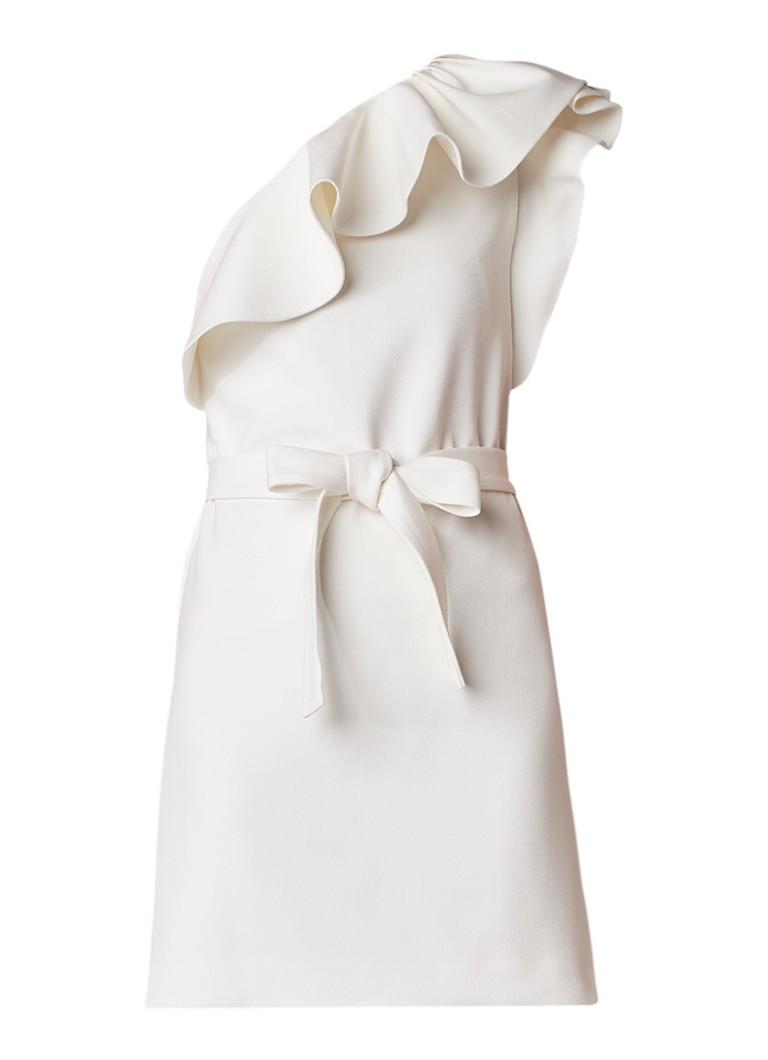 Maje Roel mini-jurk met volant en strikceintuur wit