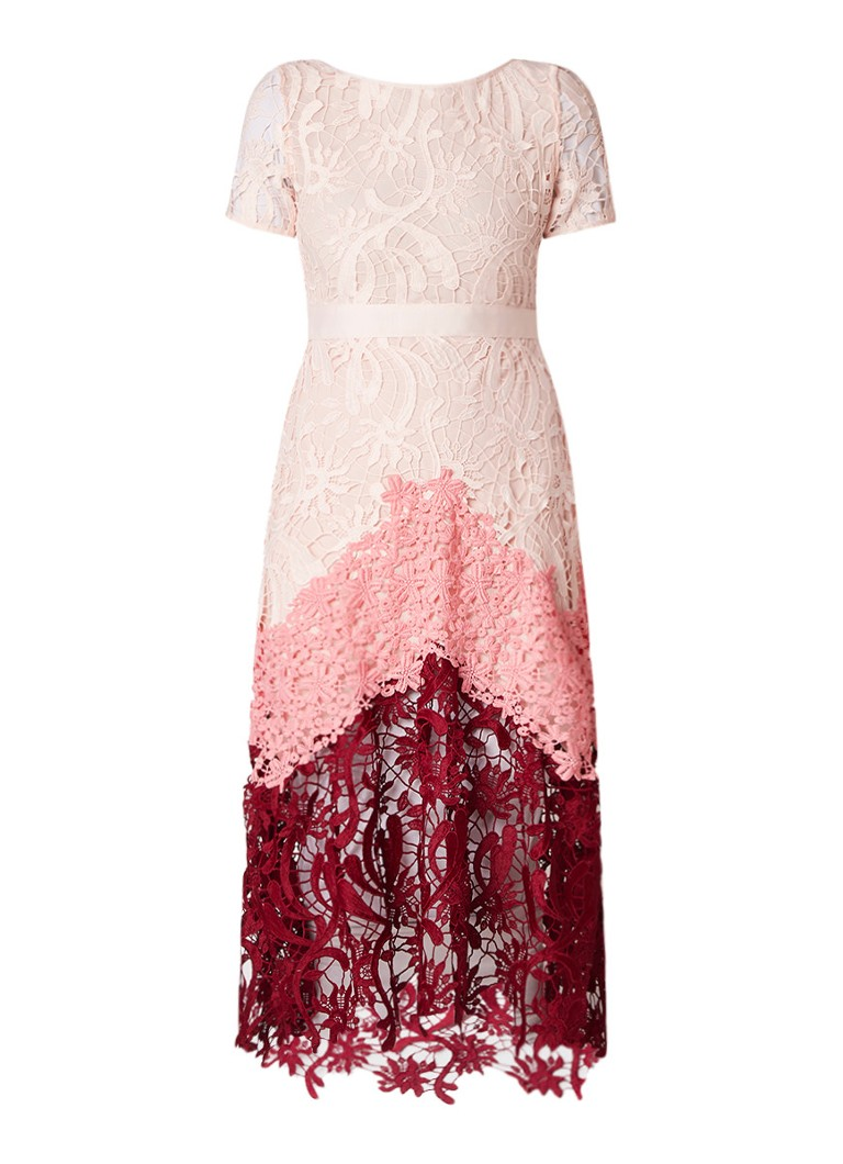 Maje Romarin A-lijn jurk van guipure kant roze