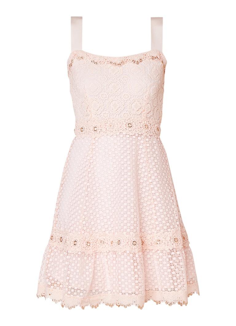 Maje Mouwloze A-lijn jurk met kant roze