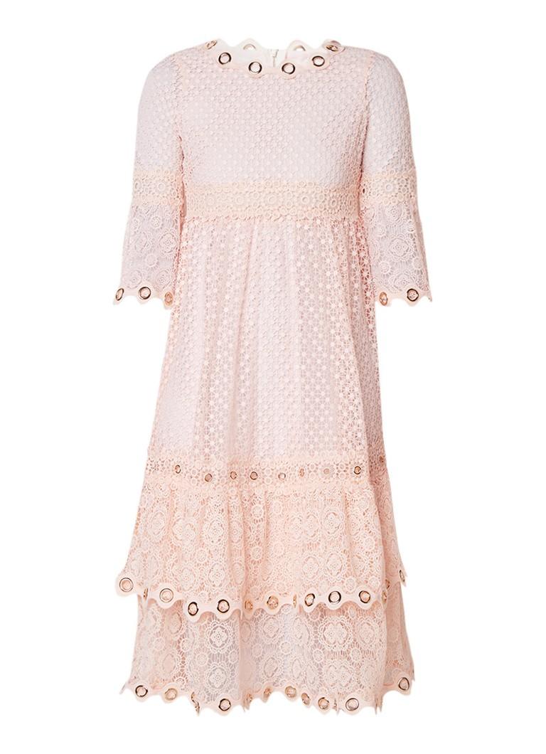 Maje Roso A-lijn jurk met opengewerkt dessin en eyelet detail zalmroze