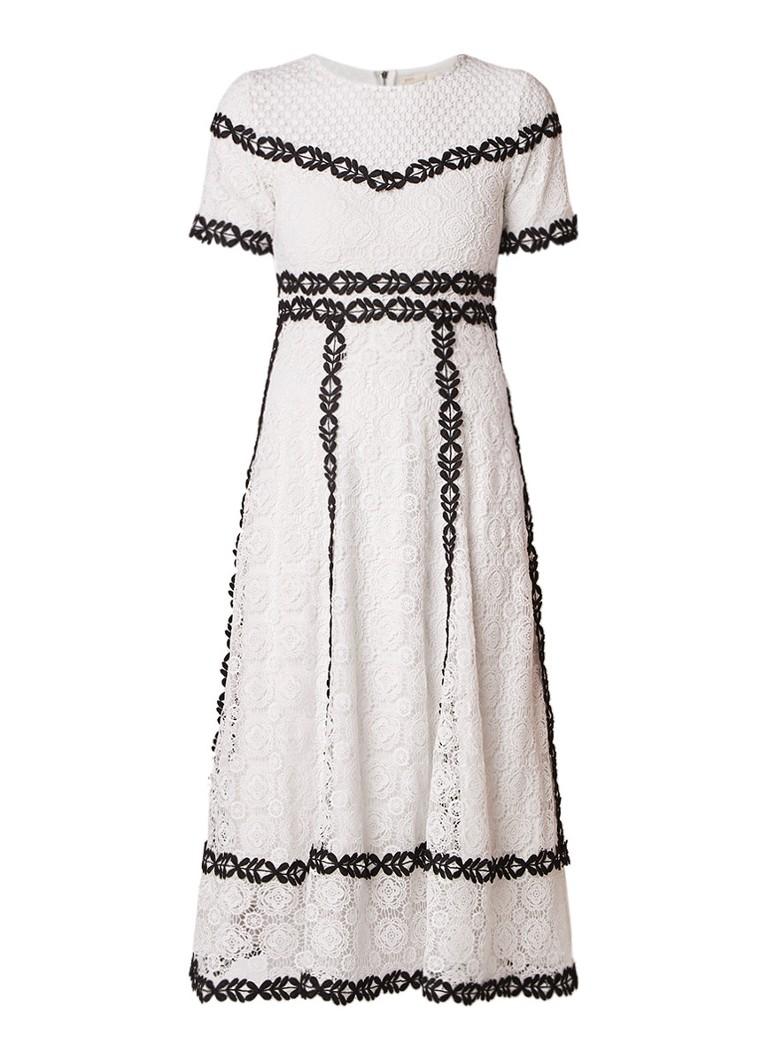 Maje Rowan A-lijn jurk van guipure kant met contrast borduring gebroken wit
