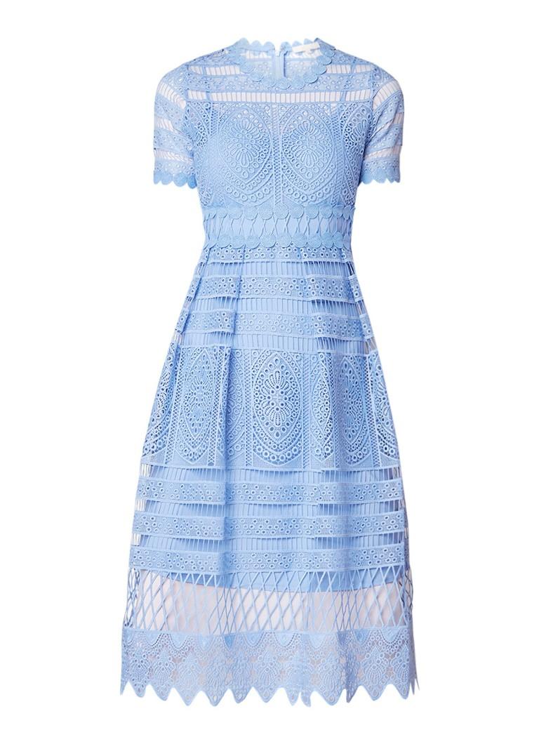 Maje Roseray A-lijn jurk van guipure kant gebroken wit