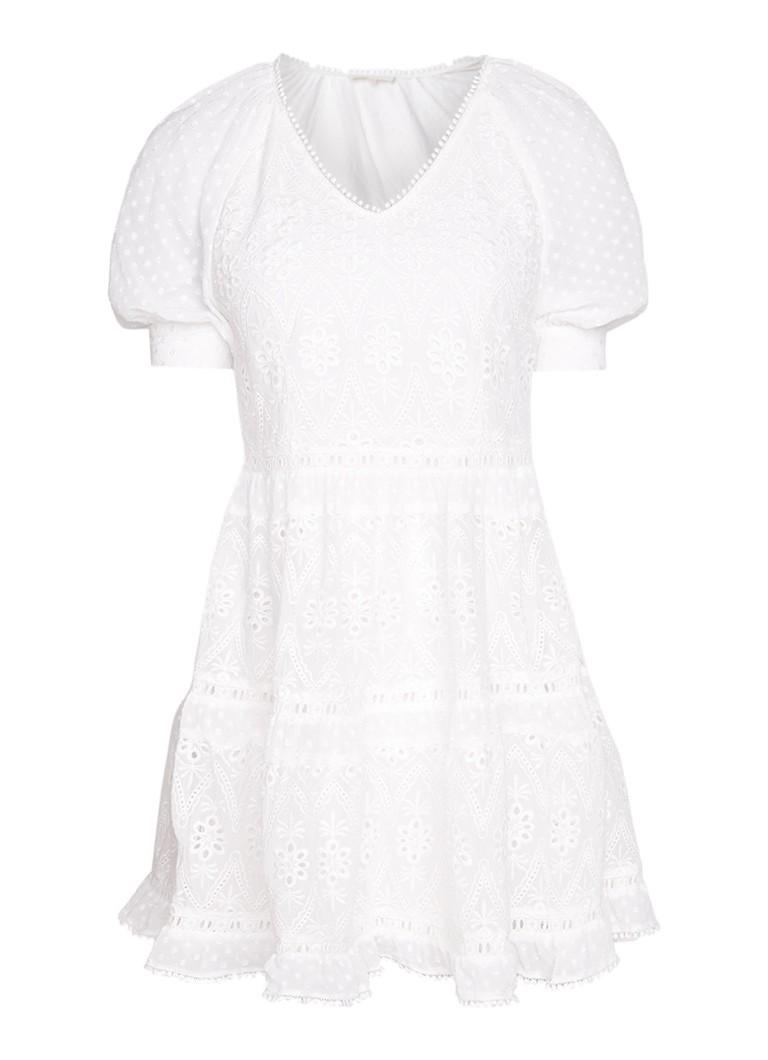 Maje Revery mini-jurk van kant met pofmouw gebroken wit