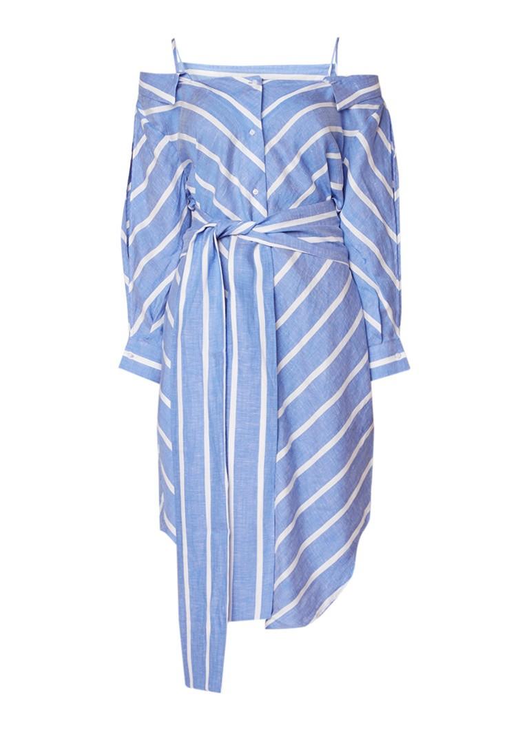 Maje Rulylle blousejurk in linnenblend met cold shoulder blauw