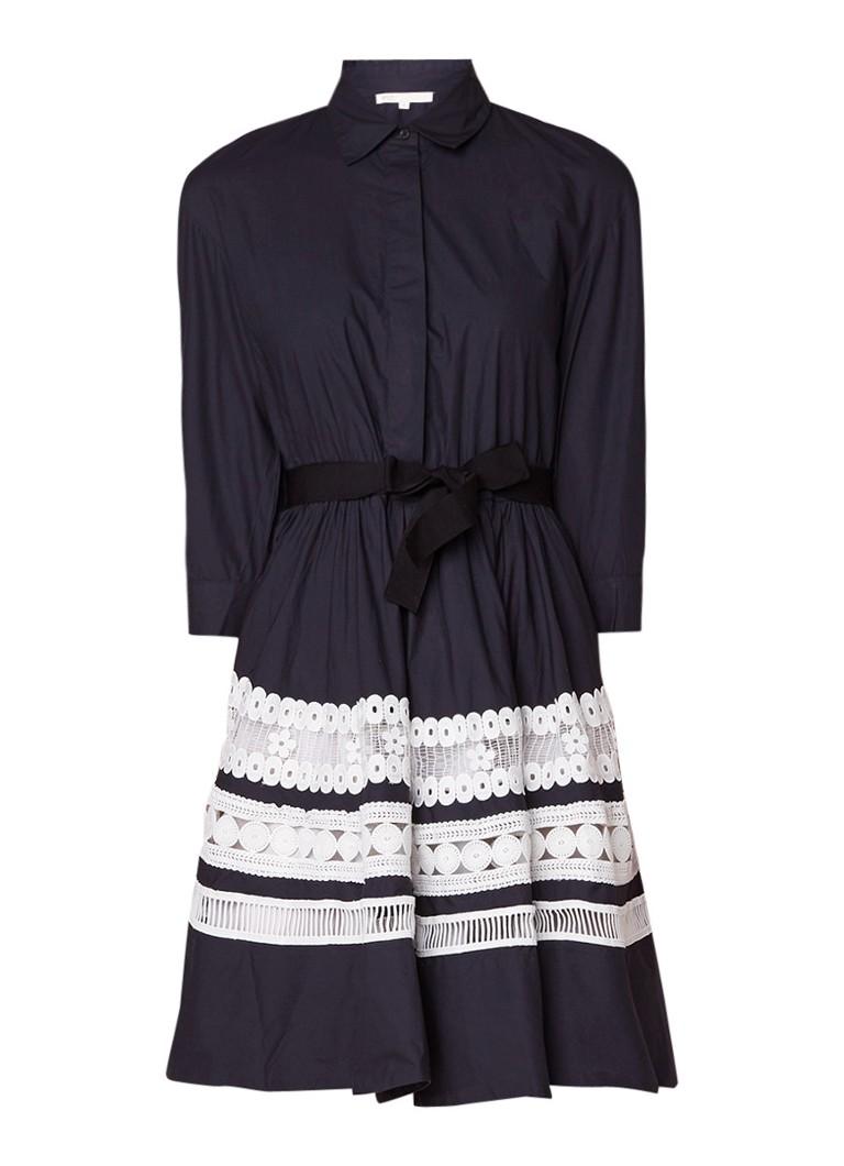 Maje Ramona A-lijn blousejurk met inzet van kant donkerblauw