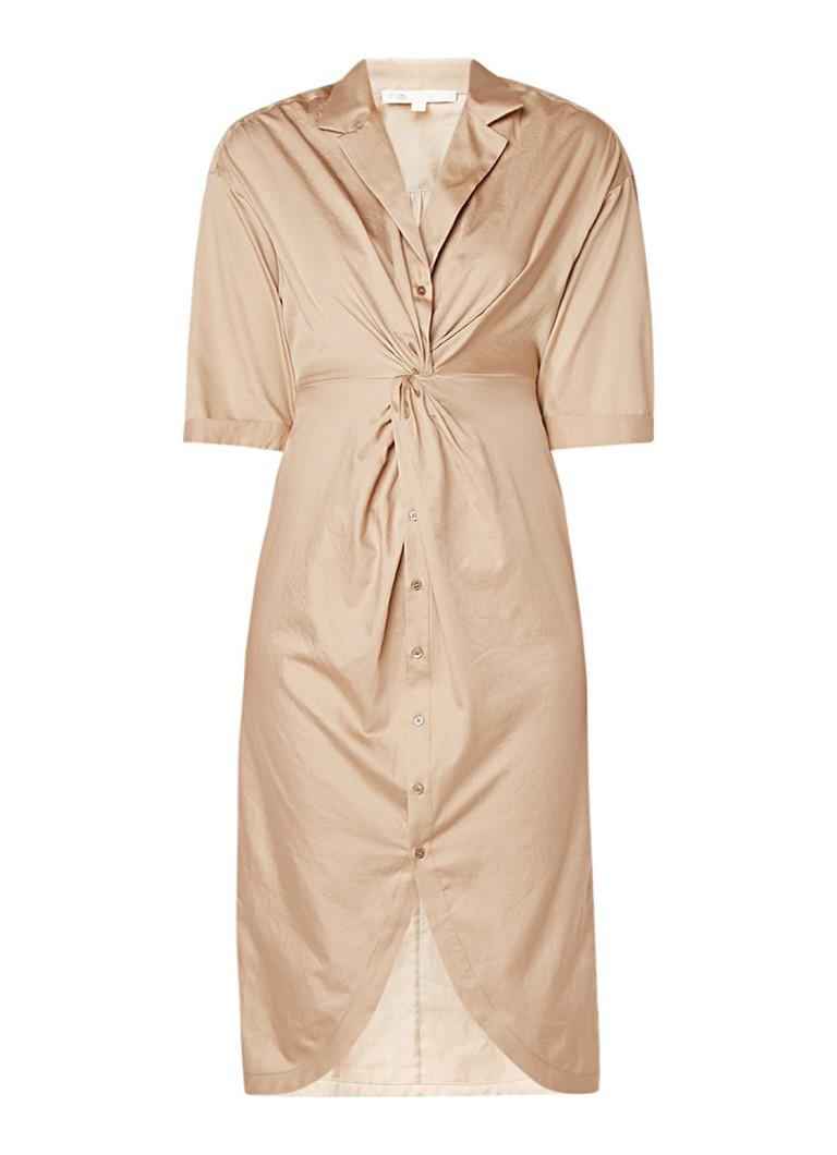Maje Midi-jurk van katoen met gedraaid detail beige