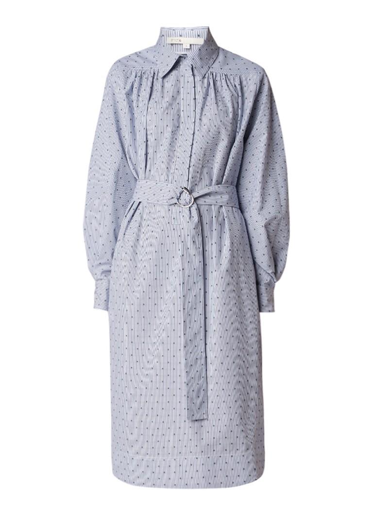 Maje Relino blousejurk van katoen met strikceintuur lichtblauw