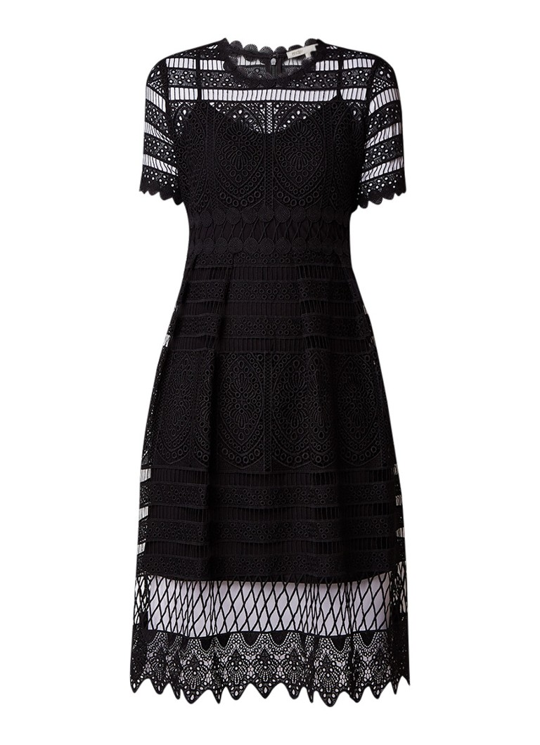 Maje A-lijn jurk van broderiekant zwart