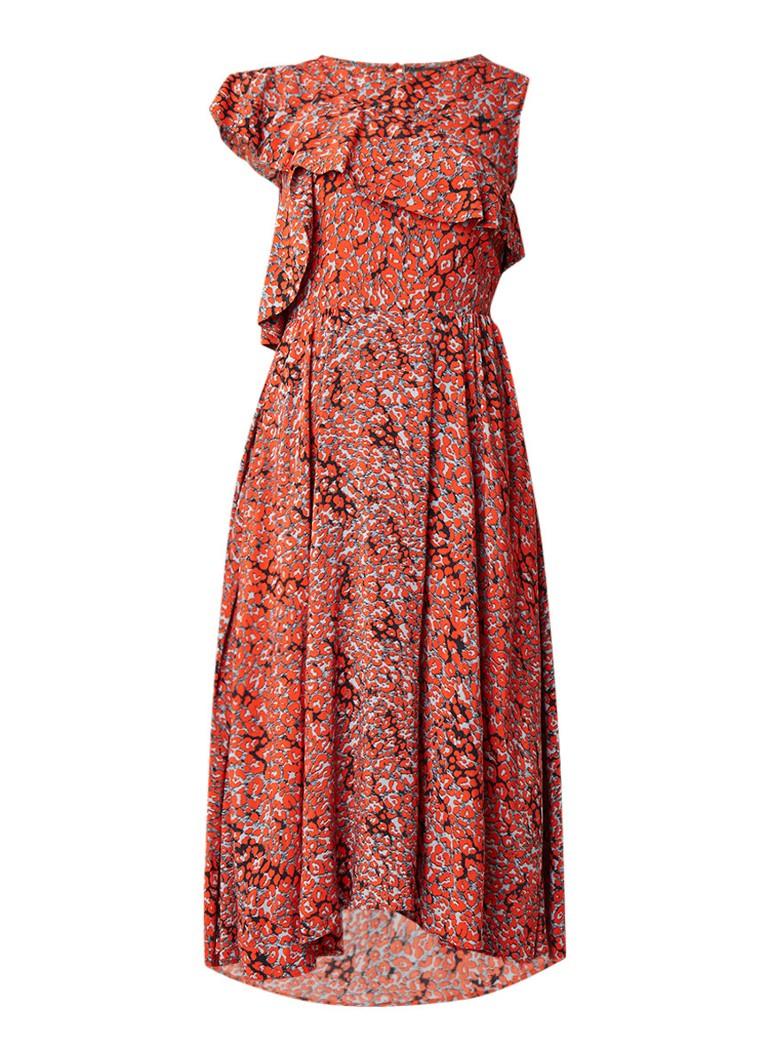 Maje Rivele midi-jurk met volant en luidpaardprint steenrood