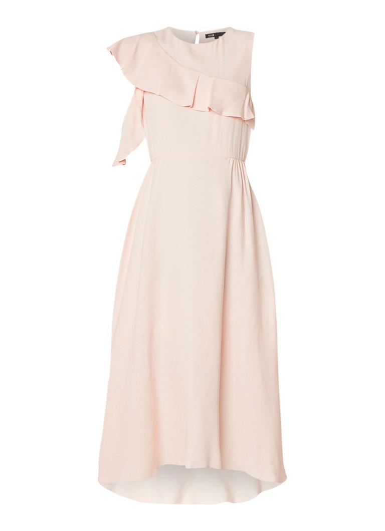 Maje Riveli maxi-jurk van crêpe met volant perzikroze
