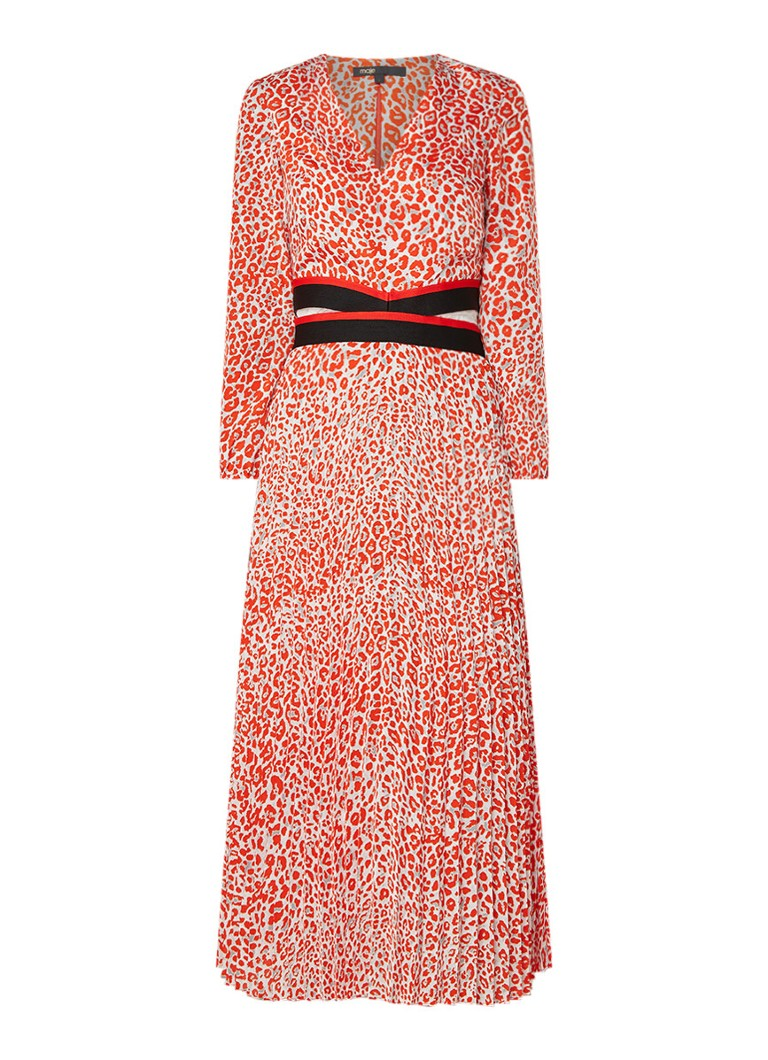 Maje Romilda maxi-jurk met luipaarddessin en cut-out oranjerood