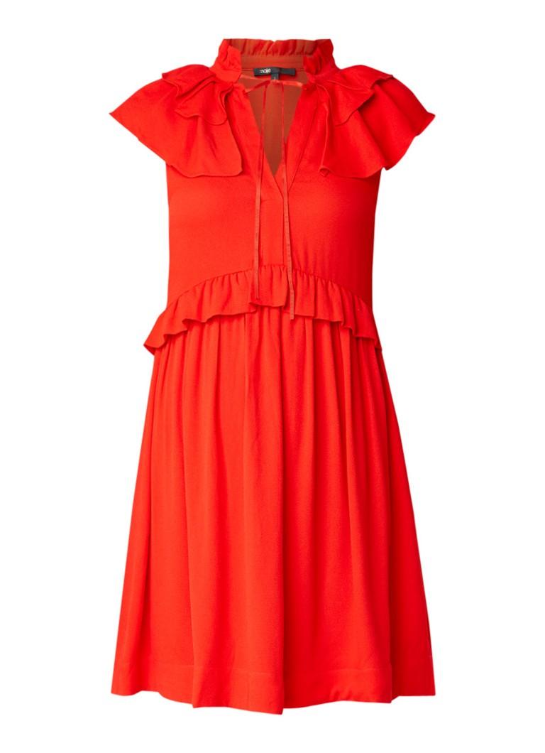 Maje Rutta A-lijn jurk met volant rood