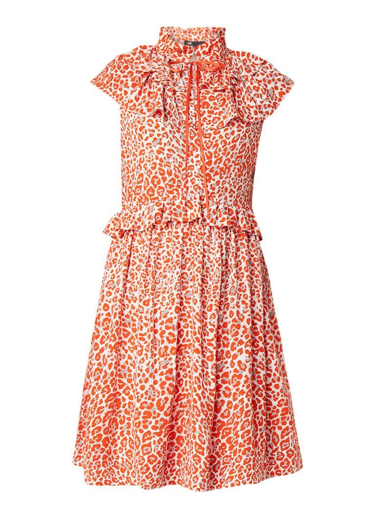 Maje Rutti A-lijn jurk met ruches en luipaardprint oranjerood