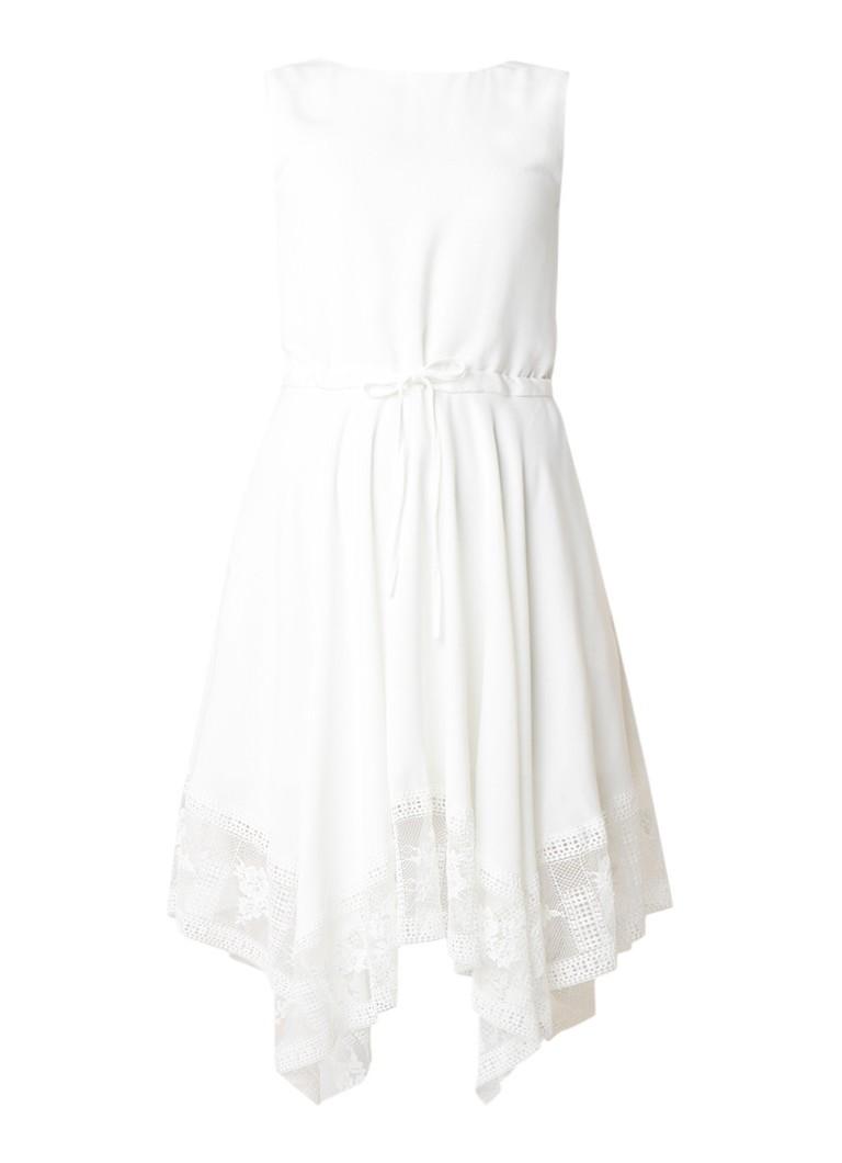 Maje Rushane midi-jurk met kant en rugdecolleté wit