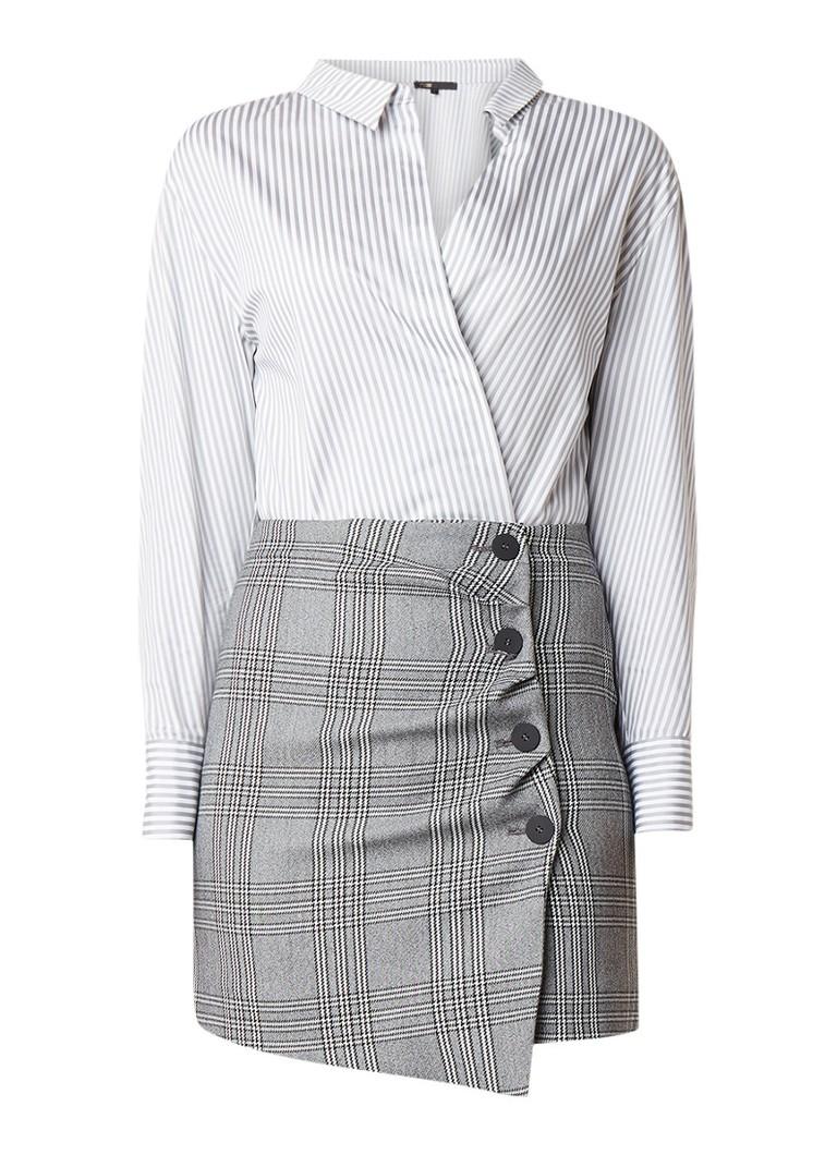 Maje Raime mini blousejurk met streep- en ruitdessin grijs