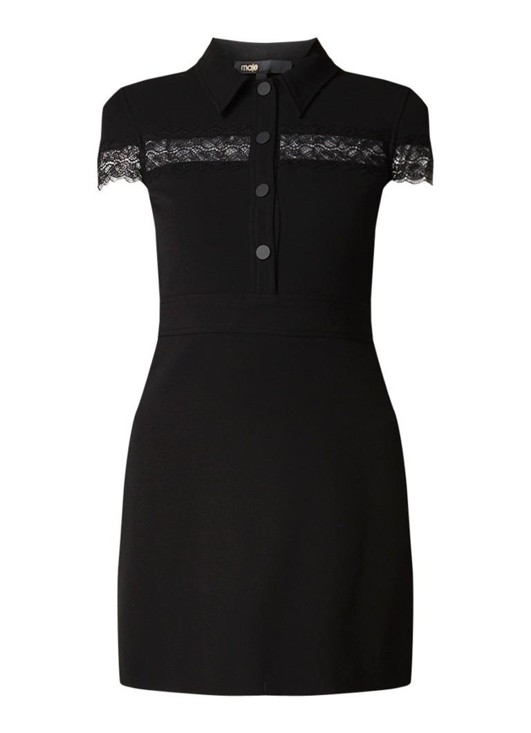Maje Robe jurk van stretch met kanten details zwart