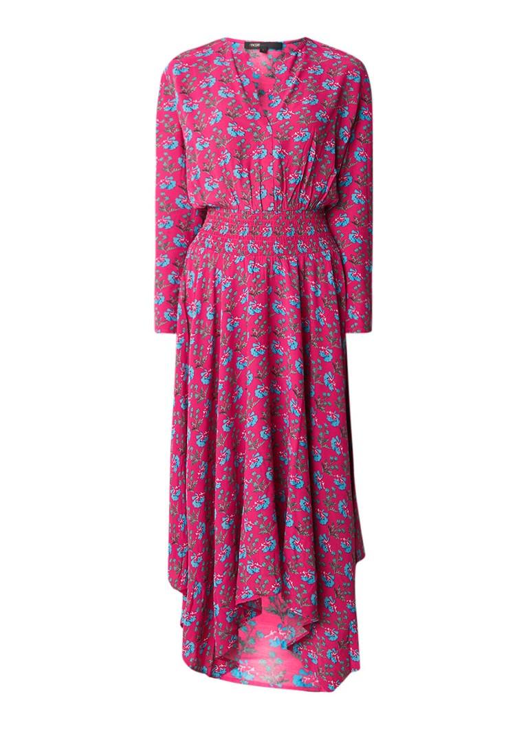 Maje Rayina maxi-jurk met bloemendessin en smock detail roze