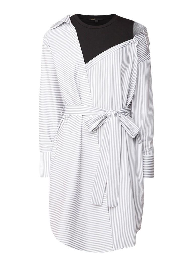 Maje Riava midi blousejurk met contrasterend streepdessin grijs