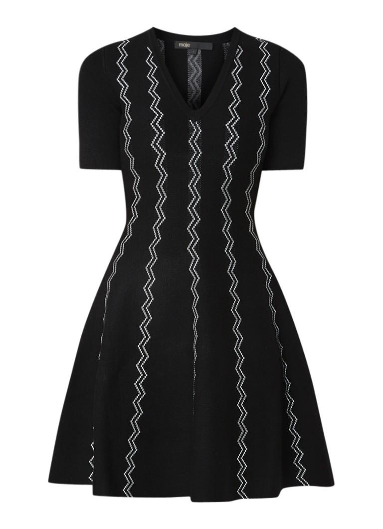 Maje A-lijn jurk met ingebreide zigzag print zwart