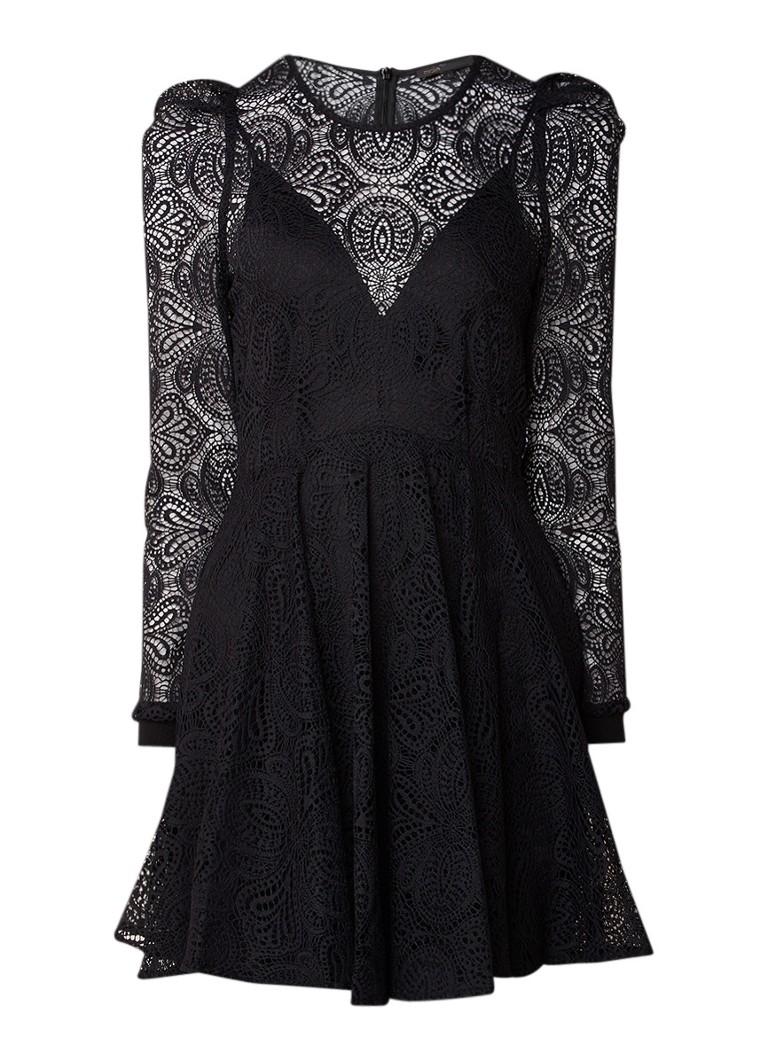 Maje Rizone A-lijn jurk van kant met onderjurk zwart