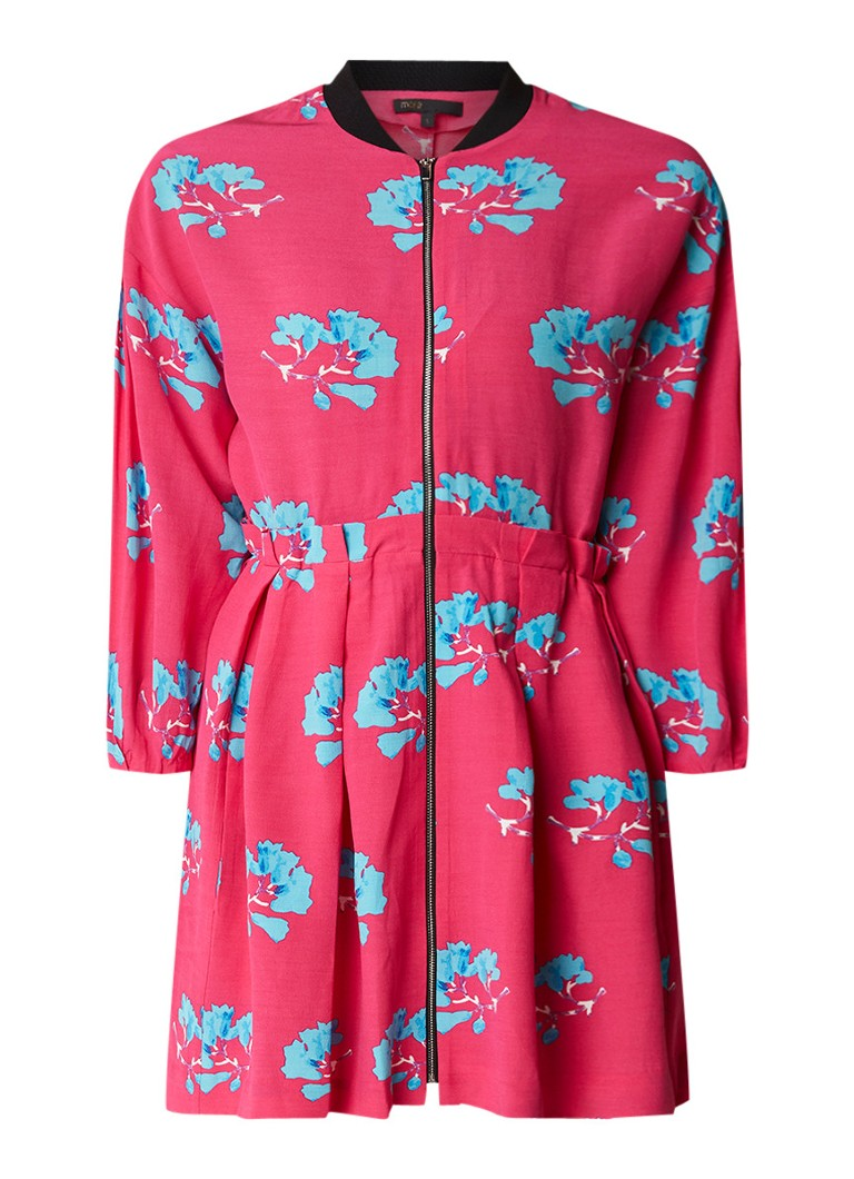 Maje Ronce A-lijn jurk met doorlopende rits en bloemendessin fuchsia