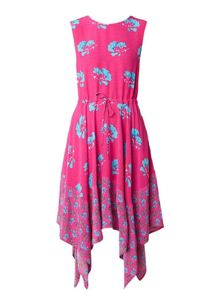 Maje Rushia asymmetrische midi-jurk met bloemendessin fuchsia