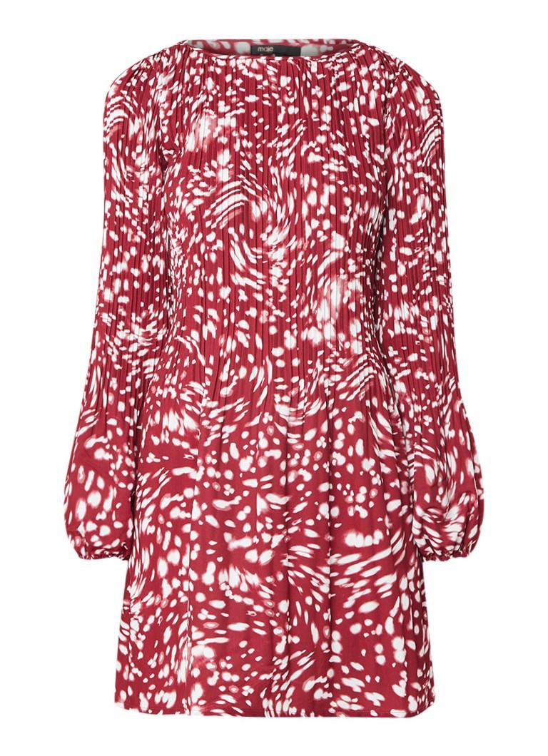 Maje Rocker A-lijn jurk met plissé detail en tie-dye dessin bordeauxrood