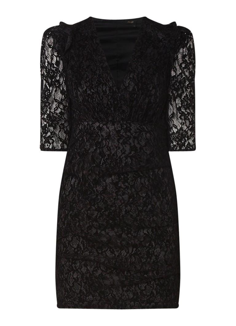 Maje Rimael semi-transparante mini-jurk van guipure kant zwart