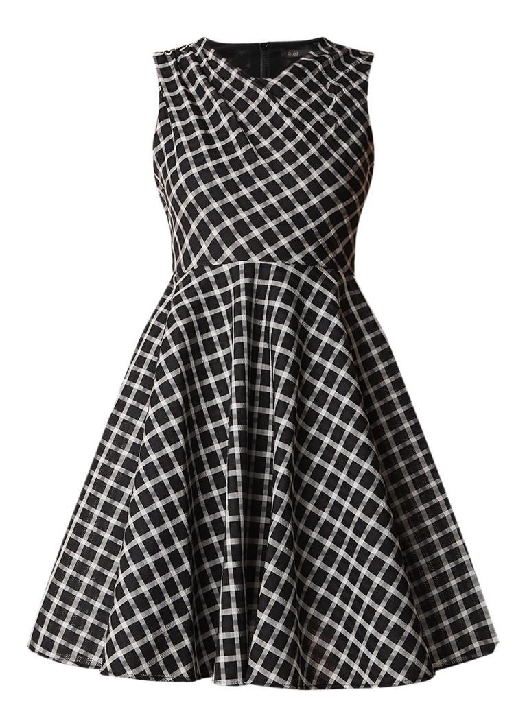 Maje Reine gestructureerde midi-jurk met ruitdessin zwart