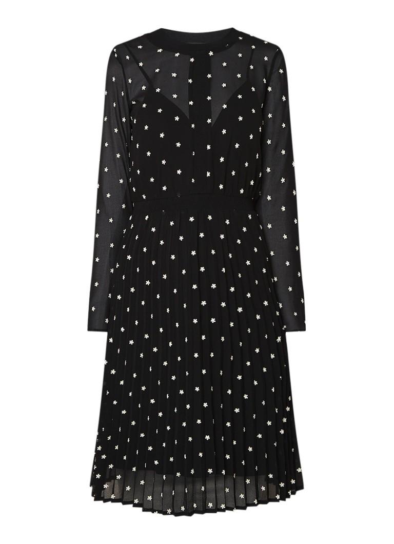 Maje Rivola semi-transparante A-lijn jurk met broderie zwart