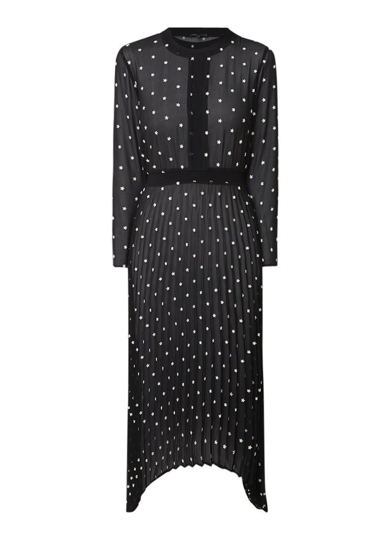 Maje Semi-transparante midi-jurk met geborduurde bloemen zwart