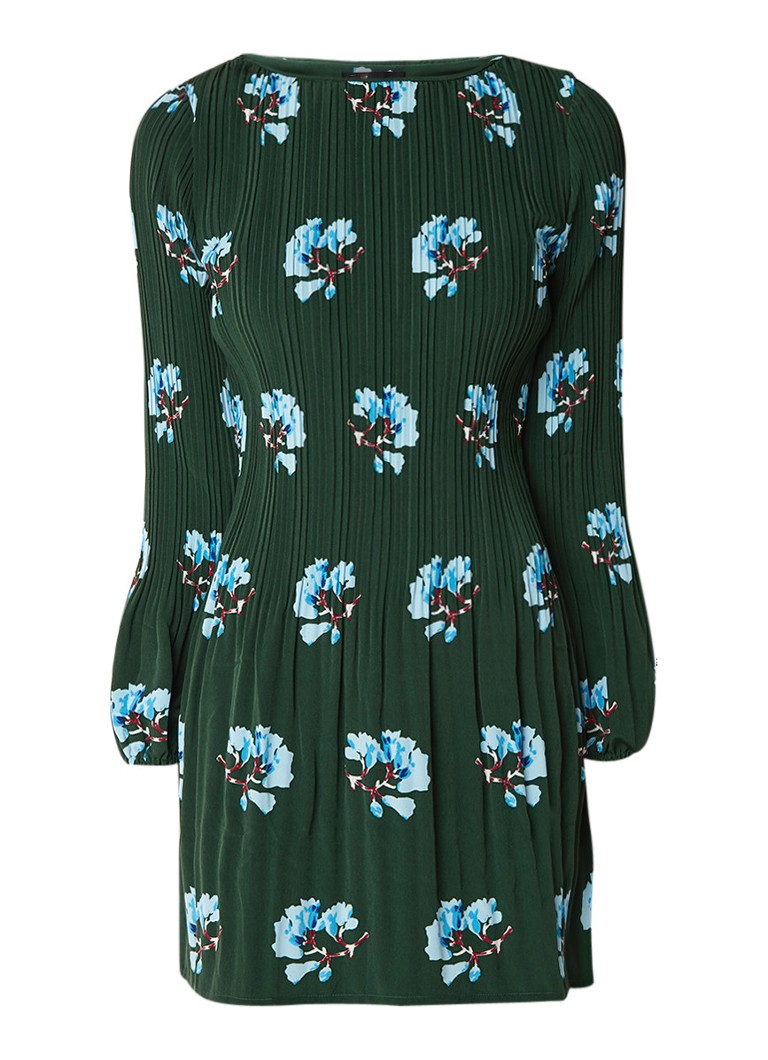 Maje Rockinett geplisseerde mini-jurk met bloemendessin donkergroen