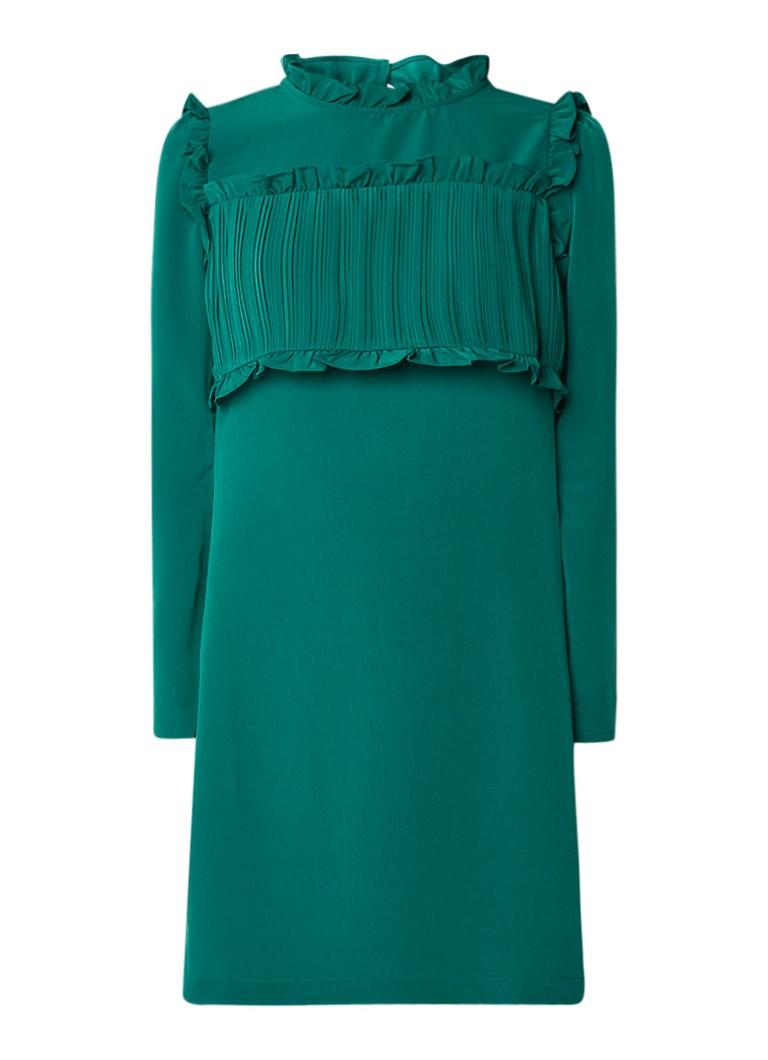 Maje Roumba mini-jurk met ruches en plissé groen