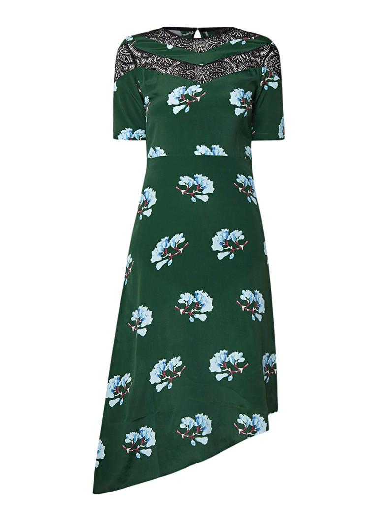 Maje Browers asymmetrische jurk met detail van kant donkergroen